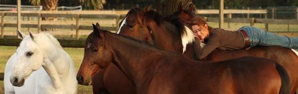 Karen Rohlf at one with her horses