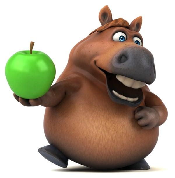 cartoon horse with apple